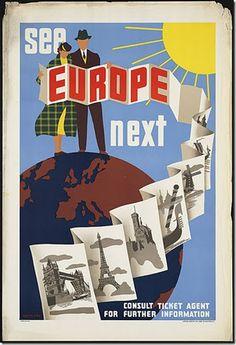 Retro advert promoting European travel.