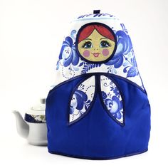 Gzhel Russian Doll Tea Cozy