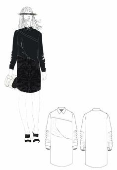 Fashion Sketchbook - shirt dress design, fashion drawings, fashion portfolio // Lowri Edwards
