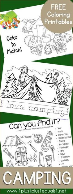 Free Camping Coloring Printables ~ Coloring activities and coloring pages for ki.- Free Camping Coloring Printables ~ Coloring activities and coloring pages for kids Camping Activities For Kids, Color Activities, Camping With Kids, Summer Activities, Preschool Activities, Camping Ideas, Outdoor Camping, Family Camping, Preschool Camping Theme