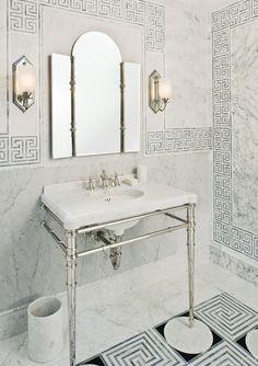 Mediterranean inspired bathroom from KALLISTA. The Inigo collection by Michael S Smith faucet, console, mirror and sconces #kallista   KALLISTA.com