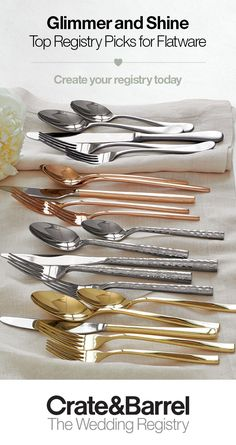 With its gleaming forms and artistry, flatware is like jewelry for your table. Your registry is the perfect opportunity to find a beautiful, lasting set that will serve you well — from everyday meals to special occasions. Create your registry today. Wedding Reception, Our Wedding, Dream Wedding, Wedding Tips, Wedding Table Centerpieces, Wedding Decorations, Event Planning, Wedding Planning, Cute Wedding Dress