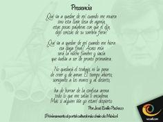 """Poema de: José Emilio Pacheco """"Próximamente el portal cultural más chulo de México"""" - www.ucoatl.com"""