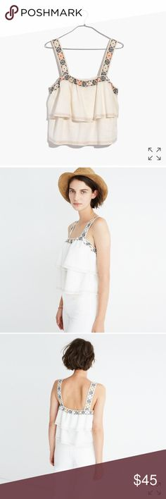 Madewell Embroidered Tier Top PRODUCT DETAILS Made of a breezy linen blend, this toss-on top has floaty tiers and intricate folk embroidery.  Linen/poly/viscose. Machine wash. Import. Item G5075.  Tags removed but never been worn Madewell Tops Tank Tops