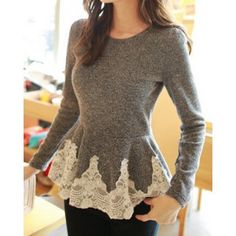 Sweet Style Round Collar Lace Splicing Waisted Corset Long Sleeve Women's T-Shirt (GRAY,ONE SIZE) in Tees & T-Shirts | DressLily.com