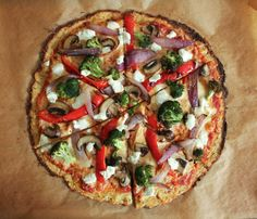 Cauliflower Pizza Crust with Roasted Vegetables and Goat Cheese. Gluten-free, grain free, and guilt-free! #FallFest