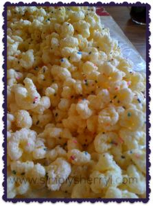 White Chocolate Popcorn (recipe calls for hull-less popcorn, but no reason you can't just use regular microwave popcorn....)