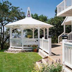 Add a gazebo for a shady, covered retreat in your backyard. Gazebo Pergola, Garden Gazebo, Pergola Shade, Patio Roof, Pergola Plans, Pergola Kits, Metal Pergola, Pergola Ideas, Cheap Pergola
