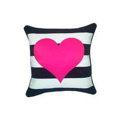 Grandin Road Heart Stripe Pillow - Pink/Black ($44) ❤ liked on Polyvore featuring home, home decor, throw pillows, black accent pillows, pink toss pillows, grandin road, pink throw pillows and pink home decor