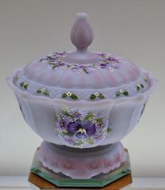 *FENTON ART GLASS ~ OGEE Candy 3pc Blue Burmese Satin, Pansies & Violets