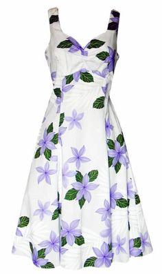 Plumeria Paradise Hawaiian Print Sun Dress in Purple, Pacific Legend, 330-3591-Purple - Paradise Clothing Company