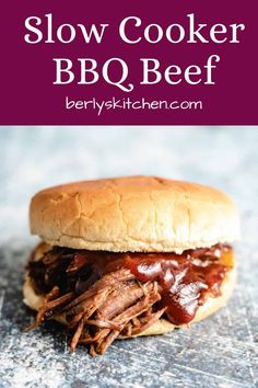 Our slow cooker BBQ beef features tender, shredded beef flavored with a dry rub and slow cooked for up to 6 hours in your slow cooker. #berlyskitchen