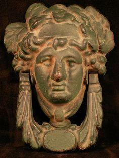 "Vintage Cast Iron Greek God ""Apollo"" Door Knocker"