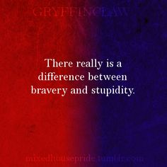 Gryffinclaw- There really is a difference between bravery and stupidity.