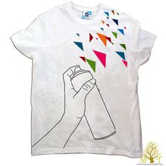 Men's hand stenciled white geometric triangle hand spray.. Love this!