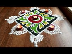 kolam Rangoli designs with colours, diwali Rangoli Designs by Shital Daga Easy Rangoli Designs Diwali, Rangoli Simple, Simple Rangoli Designs Images, Rangoli Designs Latest, Rangoli Designs Flower, Free Hand Rangoli Design, Rangoli Border Designs, Latest Rangoli, Colorful Rangoli Designs
