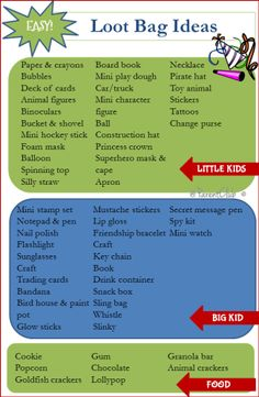 Loot Bag Ideas for little kids and big kids. Party favors, gift bags, party bags, goodie bags - this is a great list of easy and inexpensive loot bag ideas.