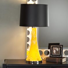 Art Glass Table Lamp Base  Have yellow ones in dining room with white drum shade