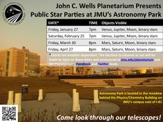 Public Star Parties at JMU's Astronomy Park!    Come look through our telescopes on the 4th Friday of every month! If the event gets cancelled because of weather, we will try again on Saturday. The decision to observe or not will be made by 4pm on each day and advertised via our website (jmu.edu/planetarium), Facebook page (facebook.com/jmu.planetarium) and twitter profile (@jmuplanetarium)