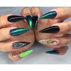 Black and green stiletto nails real scorpion nail art summer 2016 nail design