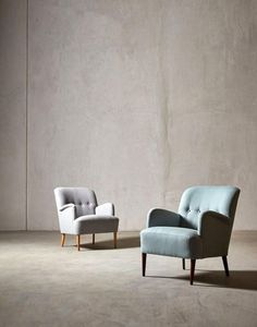 The LONDON armchair - in Light Grey wool and Alpine house weave - Swoon Editions…