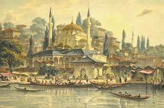 Old Istanbul illustrations Istanbul, Turkey Art, Byzantine Architecture, Islamic Paintings, My Fantasy World, Academic Art, Naive Art, Ottoman Empire, City Art