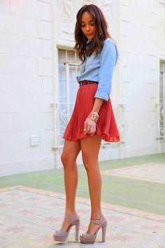 Denim skirt skater skirt chic