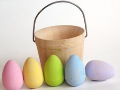 Adorable miniature wooden PASTEL EGGS in a Basket just in time for EASTER! Nothing symbolizes spring like the beautiful pastel hues of the season.