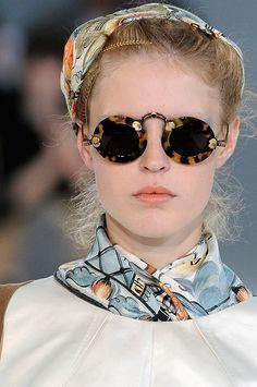 Rochas, Pretty Tortoise shell sunglasses, classic scarf accessories.