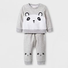 5860ba777 Baby Girls' 2pc French Terry Critter Long Sleeve T-Shirt and Leggings Set -  Cat & Jack™ Gray 12M