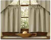 "Peaceful Cottage 24"" Lined Curtain Tiers by Primitive Home Decors. $24.50. 100% Cotton Fabric. Limited quantities available ONLY 8 PAIR LEFT Peaceful Cottage 24"" Lined Curtain Tiers 72"" Wide x 24"" Long 100% Cotton Lined 1-1/2"" header and a 2"" rod pocket. Shirr on conventional curtain rod. Light check fabric only. Priced and sold by the pair. D"