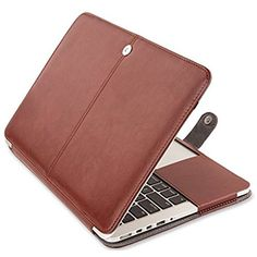 Macbook Air 13 inch Case, IWAVION Premium Quality PU Leather Sleeve Folio Cover with Magnetic Closure Protective Case for Apple MacBook Air 13.3 Inch (Models: A1466 and A1369), Brown