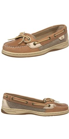 "SPERRY TOP-SIDER WOMEN'S ANGELFISH OAT SLIP-ON LOAFER---------- Color Available: Linen/Oat/Brown and Black--------- Leather--------- Rubber sole--------- Heel measures approximately 3/4""--------- Mocc-toe boat shoe featuring textured woven underlay, glossy overlays, and around-the-collar rawhide lacing---------  Fashion, Preppy Loafers suitable for Work and Casual Wear during Summer/Spring----------"