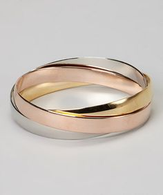 Look what I found on #zulily! Silver, Gold & Copper Intertwined Bangle Set #zulilyfinds