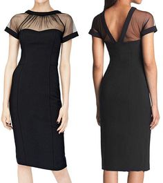Cheap summer new, Buy Quality woman clothing summer directly from China ladies work dresses Suppliers: Mesh See Through Patchwork Black Knee Length Elegant Office Lady Work Dress 2016 Women Clothing Summer New Arrival Crepe Sexy Dresses, Fashion Dresses, Short Sleeve Dresses, Work Dresses For Women, Summer Outfits Women, Clothes For Women, Vestidos Vintage, Vintage Dresses, Purple And Gold Dress