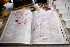 Have guests highlight their favorite verse and/or write a note to the couple regarding a scripture that can help build their marriage.