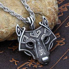 Viking Norse Fenrir Head Necklace