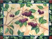 Bing Cherries - Tile Mural Tile Murals, Wall Tiles, Decorative Tile Backsplash, Tumbled Marble Tile, Bing Cherries, Fruit Picture, Fruits Images, Tile Projects, Beautiful Artwork