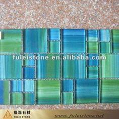 Love this green & blue tile backsplash idea. Not too bold.
