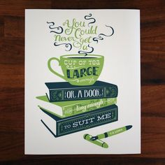 Tea and Books CS Lewis quotation illustration print - green and blue. , ($20) via Etsy.