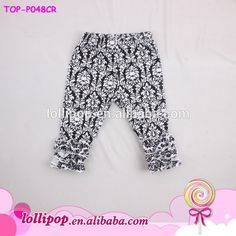 Hot Item USA Sew Sassy BoutiqueToddler Little Girls Gold Polka Dots Ruffle Pants Icing Solid Cotton Harem Pant Leggings