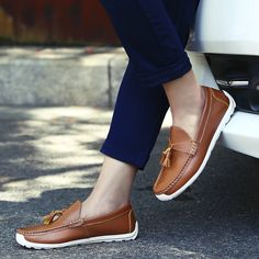 Casual Men Fashion Leather Loafers Male Tassel Slip On Driving Shoes Color Black Blue Brown