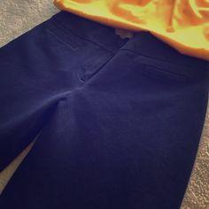 Navy slacks Petite navy slacks. Hem is coming out slightly at bottom of pant leg. LOFT Pants Trousers