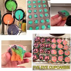 Tye dye cupcakes for a friends hippie themed birthday party!