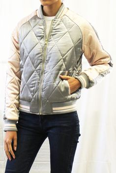 Diamond Quilted Bomber Jacket  #quiltedbomberjacket #bomberjacket #jacket #glossybomberjacket
