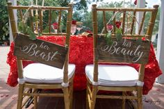 His Beauty Her Beast Chair Signs Fairytale Wedding Sign Rustic Wood Chair Signs, Bride And Groom Sign, Sweetheart Table Decor Its Beauty Your Beast Chair Sign Fairy Tale Wedding Sign Rustic Beauty And The Beast Wedding Theme, Wedding In The Woods, Wedding Beauty, Our Wedding, Dream Wedding, Spring Wedding, Wedding Chair Signs, Rustic Wedding Signs, Wedding Chairs