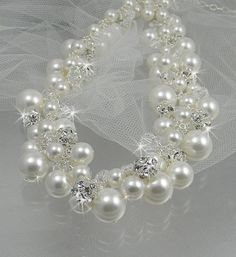 Pearl bridal Necklace chunky wedding necklace by CrystalAvenues, $118.00
