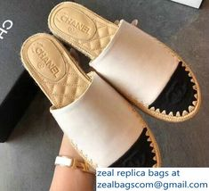 899851cfb1a Chanel Lambskin and Grosgrain Mules Espadrilles G33560 White 2018