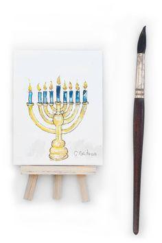 Hanukkah menorah Original watercolor mini fine art by HammerToLace
