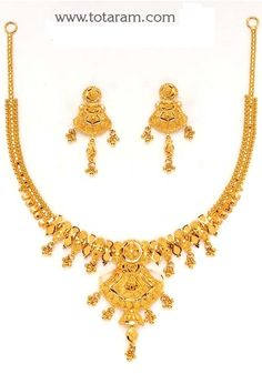 22 Karat Gold Necklace & Drop Earrings set with intricate workmanship. Gold Necklace Simple, Gold Jewelry Simple, Gold Jewellery, Small Necklace, India Jewelry, Beaded Jewelry, Jewelery, Gold Initial Pendant, Gold Earrings Designs